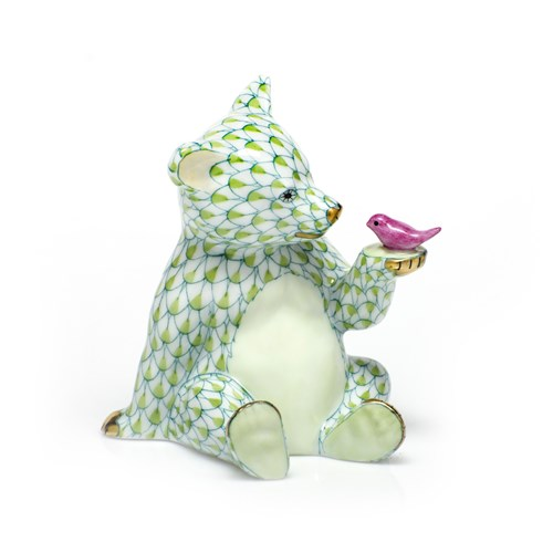 Herend Bear with Bird, Key Lime with Raspberry Bird Wash