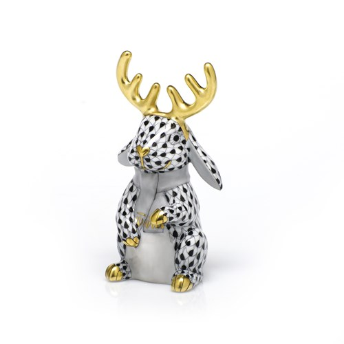 Herend Reindeer Rabbit, Black