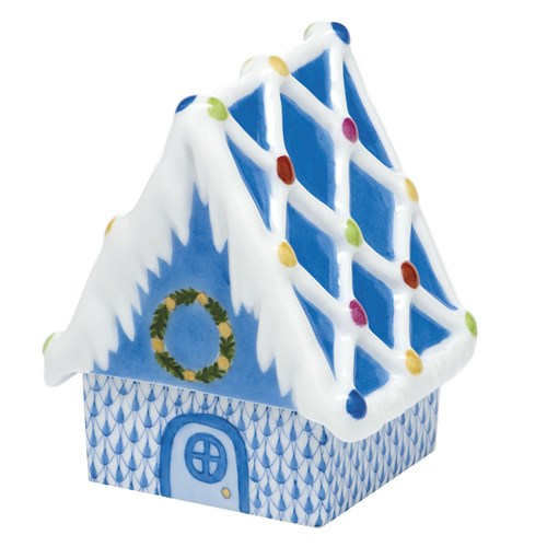 Herend Gingerbread House, Blue