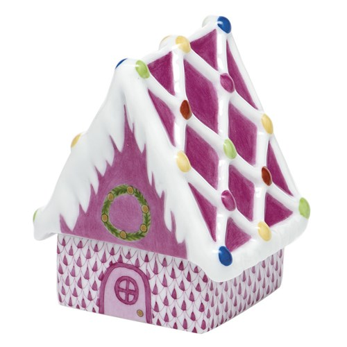 Herend Gingerbread House, Raspberry