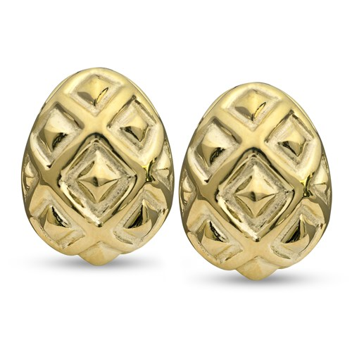 18k Gold Ornament Earrings, Gold