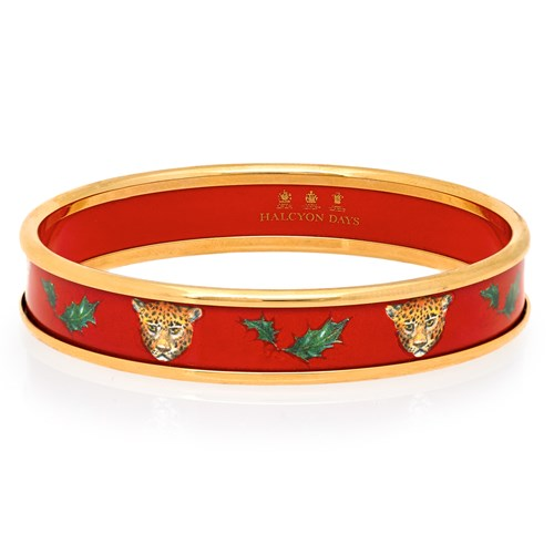 Halcyon Days Festive Leopard on Red Bangles