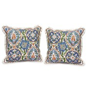 Handpainted Majolica Tile Silk Pillows, White Trim