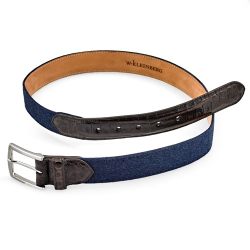 Navy Cashmere and Crocodile Belt, Size 32