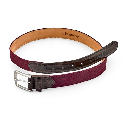Burgundy Cashmere and Crocodile Belt, Size 32