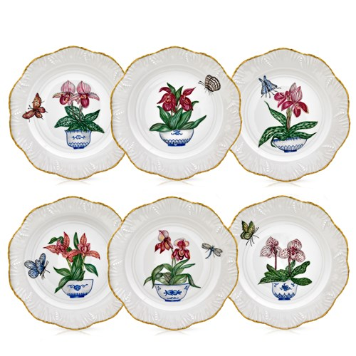 Blue Pot and Orchids Porcelain Dessert Plates