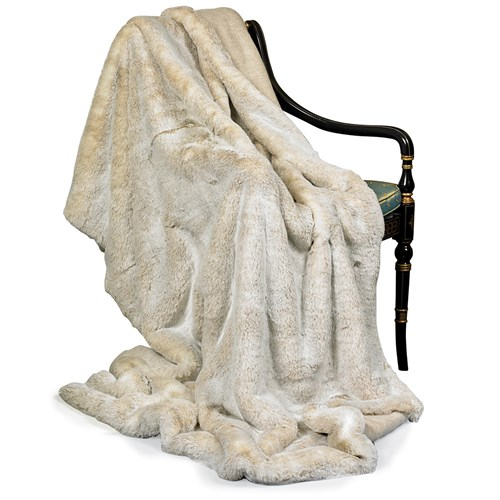 Faux Fur Beige Australian Geelong Wool Throw