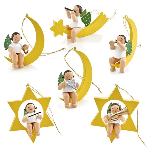 Angel Musician Ornaments, Set of 6
