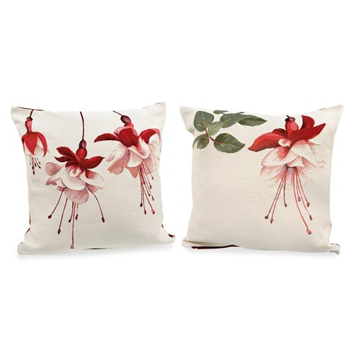 Fuchsia on Natural Tapestry Pillows