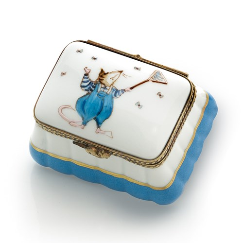 Blue Mouse Fly Swatter Limoges Box