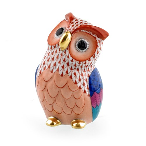 Herend Owl Figurine, Rust