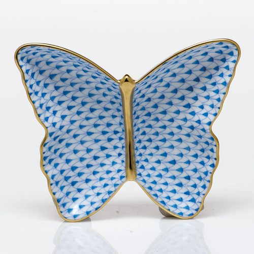 Herend Butterfly Dish, Sapphire