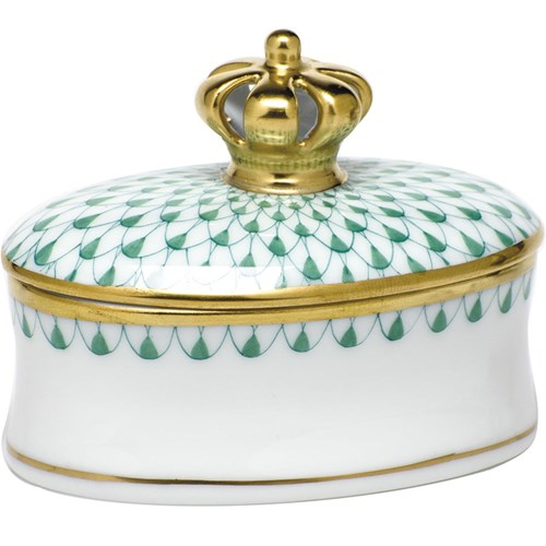 Herend Box with Crown, Green