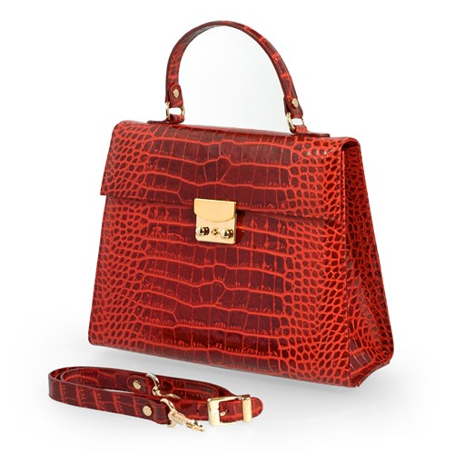 Faux Crocodile Leather Bag, Red