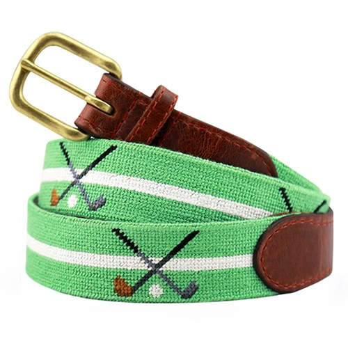 Crossed Clubs Petitpoint Belt, Size 28