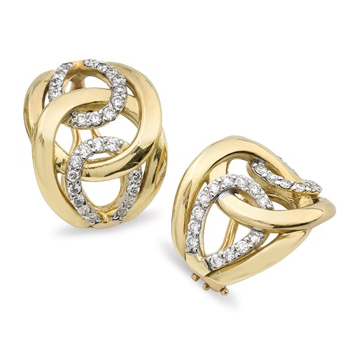 18K Gold Interlocking Diamond Earrings, Clips