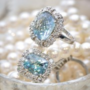 18k White Gold Diamond & Checkerboard Aquamarine Ring