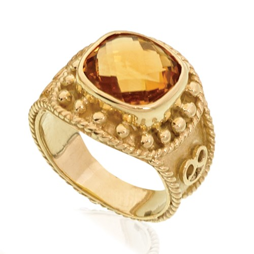 18k Yellow Gold Square Citrine Center Ring