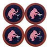 Elephant Martini Needlepoint Coaster Set
