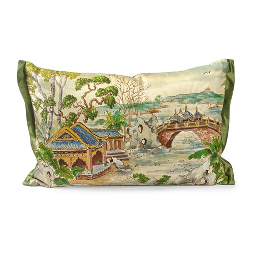 Handpainted Pagoda Silk Pillow, Bridge
