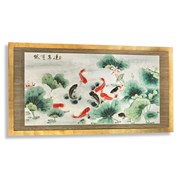 Garden Koi Pond Hand-Colored Painting
