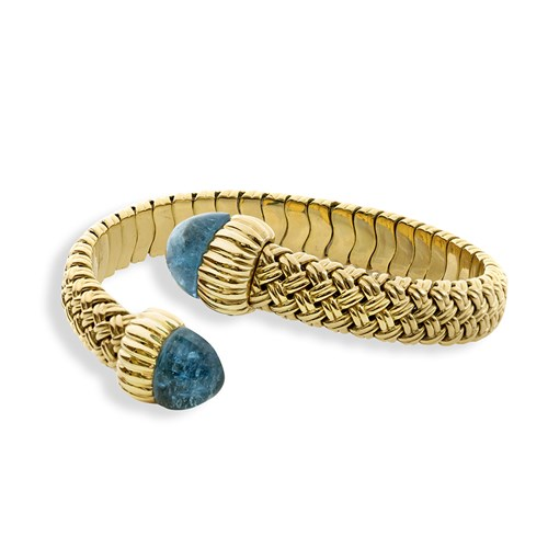 18k Yellow Gold Aquamarine Basketweave Bangle