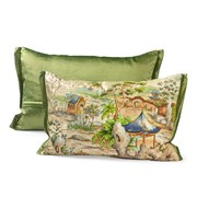 Handpainted Pagoda Green Silk Pillows