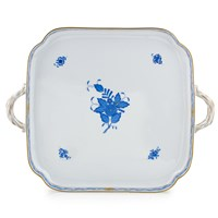 Herend Chinese Bouquet Blue Square Tray with Handles