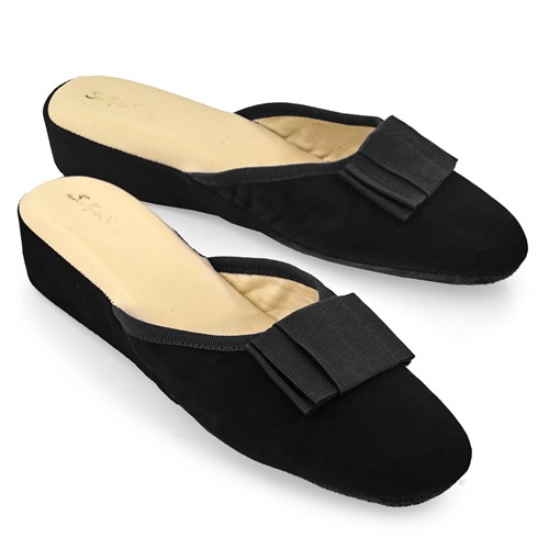 Women's Black Galla Velvet Slippers, Small