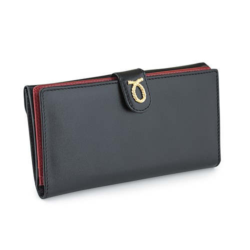 Launer Ladies' Wallet, Black Exterior/Red Interior Large