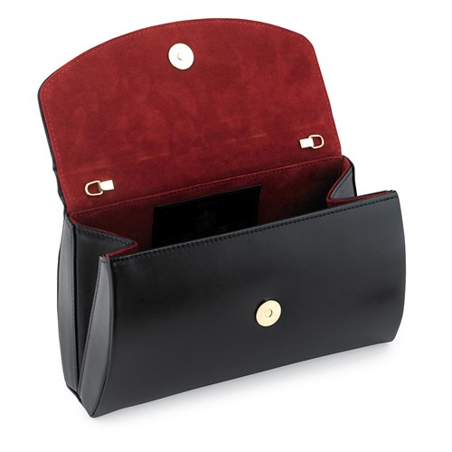 Launer Tosca Clutch, Black with Red Suede Inside