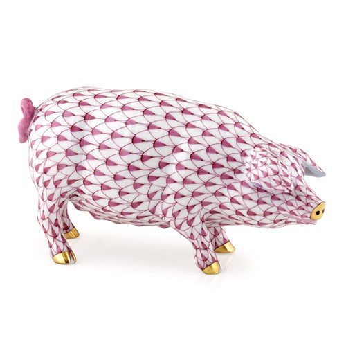 Herend Closed Mouth Pig, Raspberry