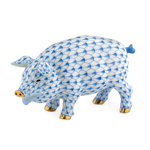 Herend Exclusive Pig, Blue