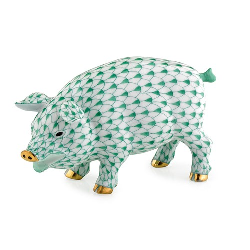 Herend Exclusive Pig, Green
