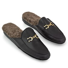 Men's Cambridge Leather Slippers with Brass Buckles