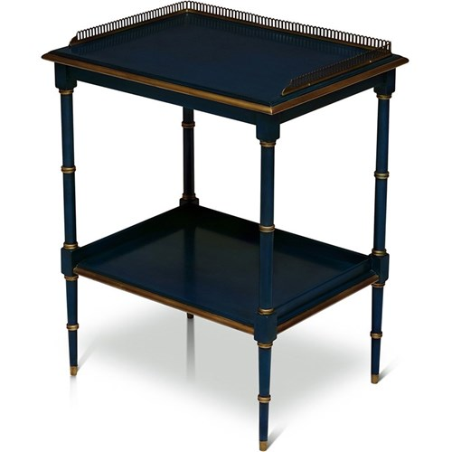 Two-Tiered End Table, Blue