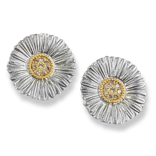 Buccellati Daisy Blossom Sterling Silver Large Button Earrings