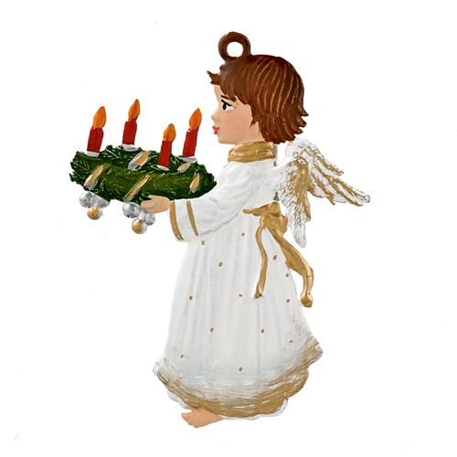 Pewter Angel with Advent Wreath Ornament