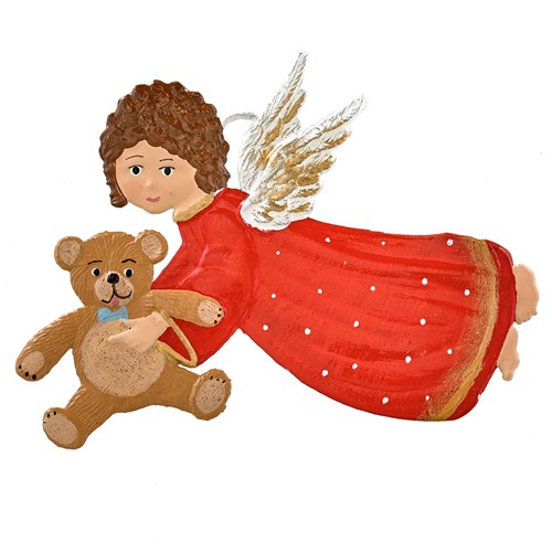 Pewter Angel with Teddy Bear Ornament