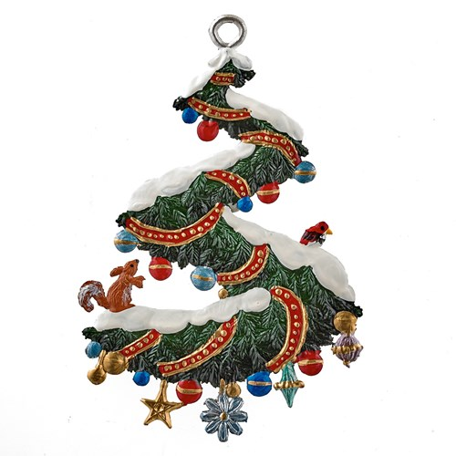 Pewter Christmas Spiral Swag Ornament
