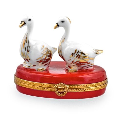 Two Christmas Geese Limoges Box