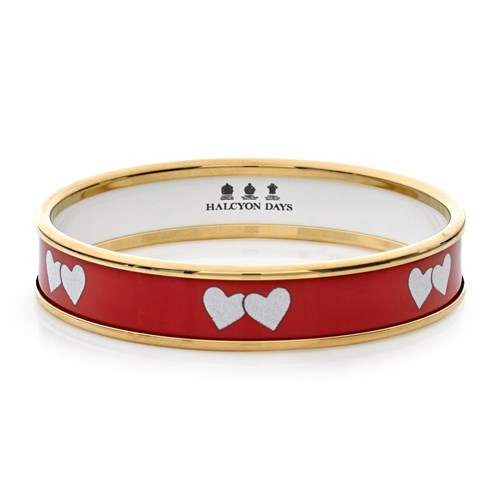 Halcyon Days Love Hearts Handpainted Bangle, Small