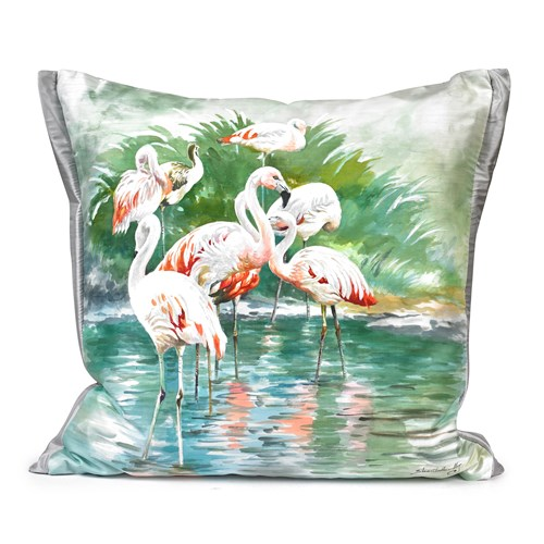 Handpainted Flamingo Silk Pillow, Design B