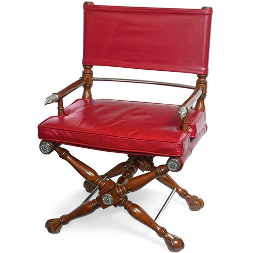 Mahogany Director's Chair, Red Leather