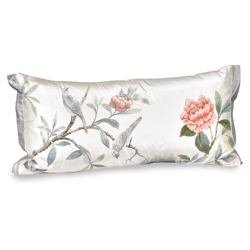 Two White Birds with Pink Flower Pillow, Left