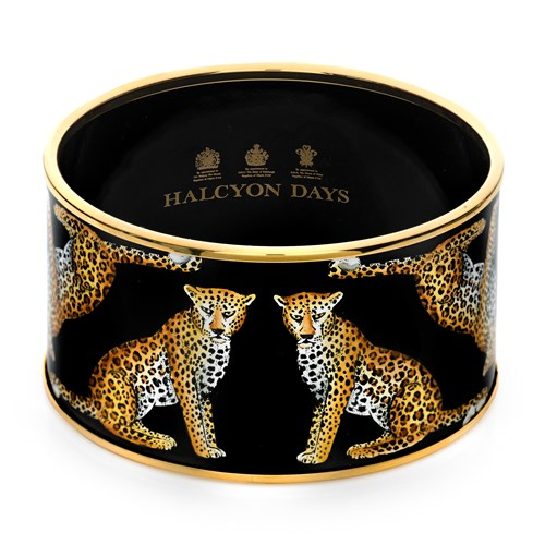 Halcyon Days Handpainted Leopard Cuff Bangle, Small