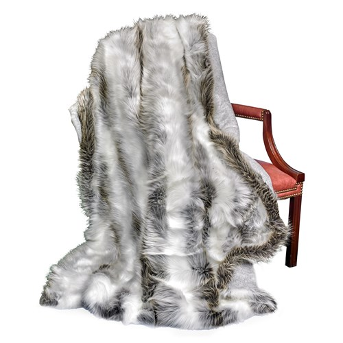 Faux Fur Silver Fox Australian Geelong Wool Throw