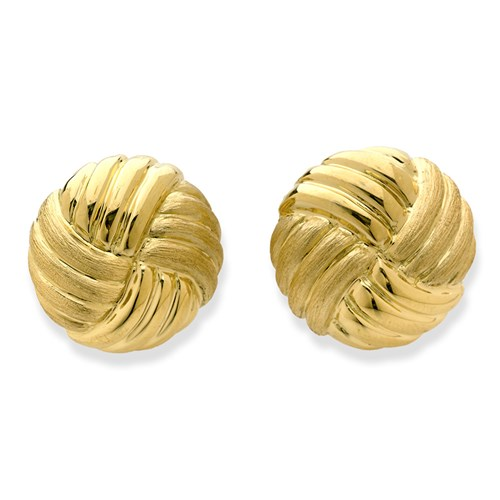 18K Yellow Gold Twisted Swirl Florentine Earrings, Clips