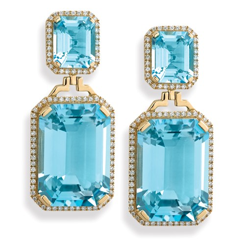 Blue Topaz Earrings with Diamonds, Posts