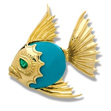 18k Yellow Gold Angel Fish Pin